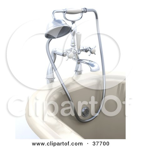 Clipart Illustration of a Modern Bath Tub With A Shower Head And Hose Attachment by KJ Pargeter