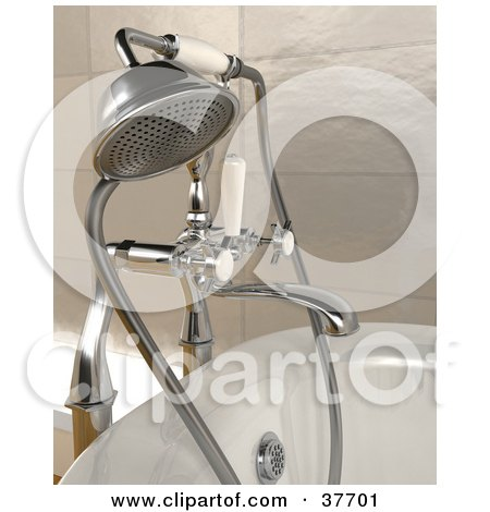 Clipart Illustration of a Chrome Shower Head Attached To A Bath Tub by KJ Pargeter