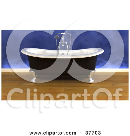 Clipart Illustration of a Modern Bathroom Interior With A Clawfoot Bath Tub by KJ Pargeter