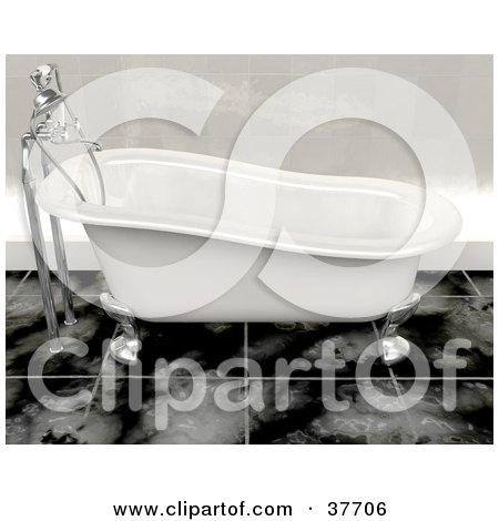 Clipart Illustration of a White And Chrome Clawfoot Bath Tub In A Modern Restroom With Tile Flooring by KJ Pargeter