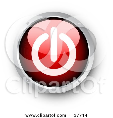 Clipart Illustration of a Red And Chrome Shiny Power Button by KJ Pargeter