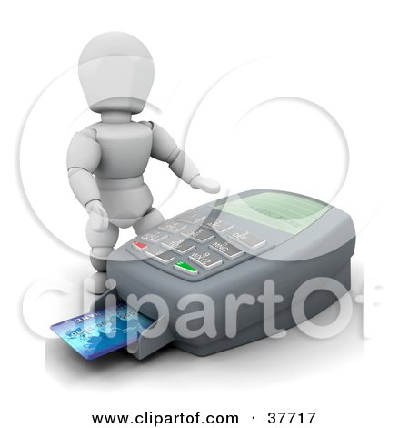Clipart Illustration of a 3d White Character Standing Over A Large Credit Card Machine by KJ Pargeter