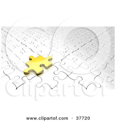 Clipart Illustration of a Gold Jigsaw Puzzle Piece Resting On A White Puzzle by KJ Pargeter