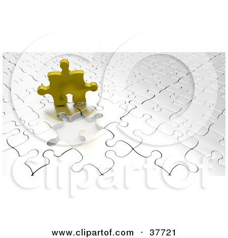 Clipart Illustration of a Golden Puzzle Piece Above An Empty Space On A Nearly Complete White Puzzle by KJ Pargeter