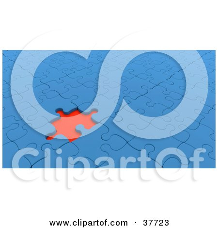 Clipart Illustration of a Red Empty Space Standing Out In A Nearly Completed Blue Jigsaw Puzzle by KJ Pargeter