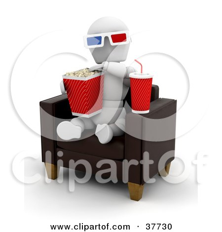 Clipart Illustration of a White Character Wearing 3d Glasses, Snacking On Popcorn And Soda And Sitting In A Leather Chair At A 3d Movie by KJ Pargeter