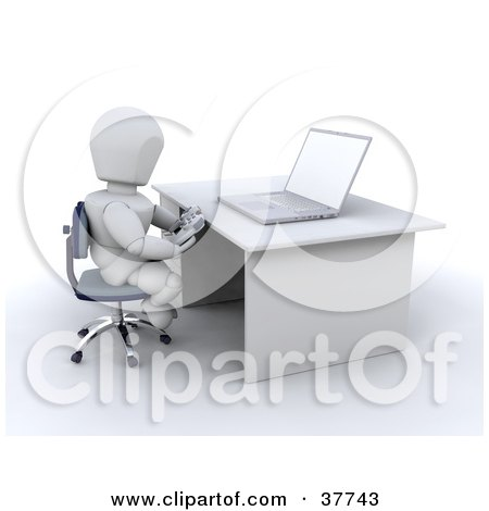 Clipart Illustration of a 3d White Character With A Controller Playing An Online Video Game by KJ Pargeter