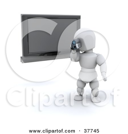 Clipart Illustration of a 3d White Character Filming A Home Video With A Handy Cam, In Front Of A Wall Mounted Plasma TV by KJ Pargeter