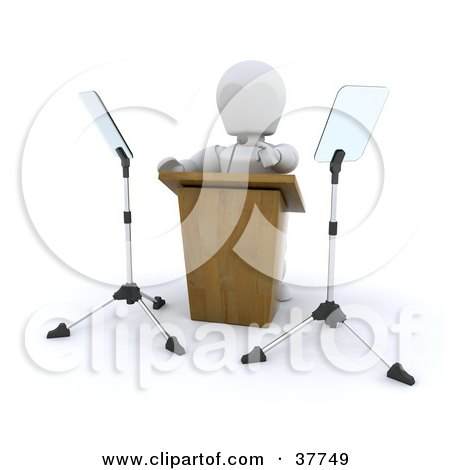 Clipart Illustration of a 3d White Character Politician Pointing While Giving A Powerful Speech Behind A Podium by KJ Pargeter