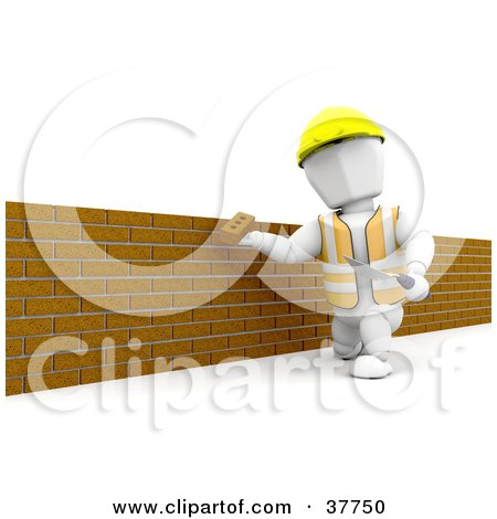 Clipart Illustration Of A White Character Using A Trowel To Assemble A Brick Wall
