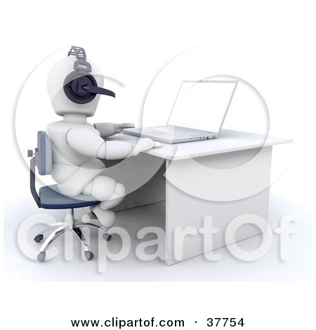 Clipart Illustration of a 3d White Character At A Desk, Using A Headset And Laptop by KJ Pargeter