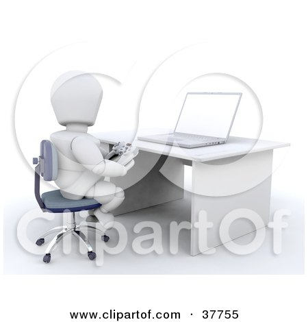 Clipart Illustration of a 3d White Character Sitting At A Desk And Playing An Online Game With A Controller by KJ Pargeter