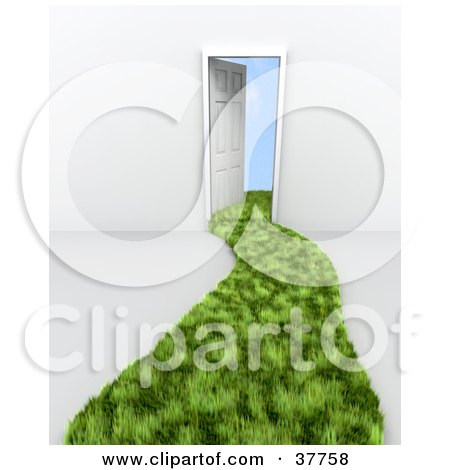 Clipart Illustration of a Path Of Green Grass Curving To A Doorway With Clouds Beyond by KJ Pargeter