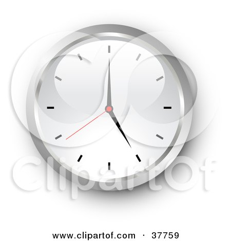 Clipart Illustration of a Chrome And White Wall Clock by KJ Pargeter