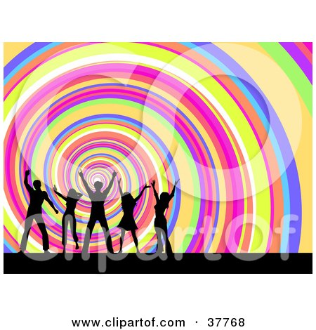 Clipart Illustration of a Spiraling Rainbow Background With Dancing Men And Women Silhouetted In The Foreground by KJ Pargeter