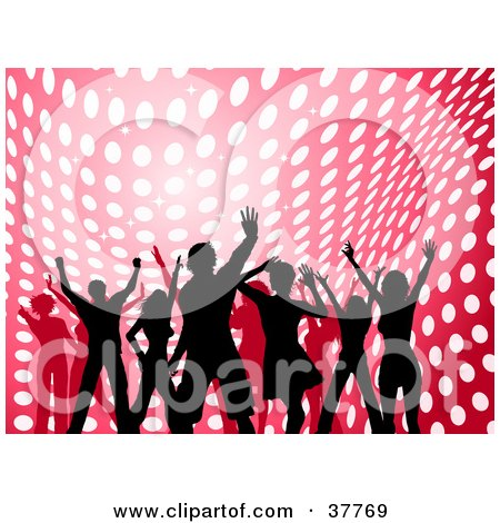 Clipart Illustration of Silhouetted Dancers In Front Of A Pink And Red Background With Wavy White Dots  by KJ Pargeter
