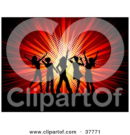 Clipart Illustration of Silhouetted Ladies Dancing In Front Of A Bursting Red Star Background by KJ Pargeter