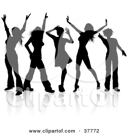 Clipart Illustration of Five Disco Diva Dancers Silhouetted In Black by KJ Pargeter