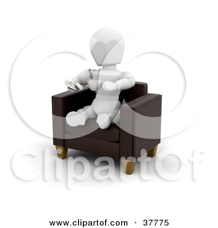 Clipart Illustration of a 3d White Character Sitting In A Leather Arm Chair, Sipping A Latte by KJ Pargeter