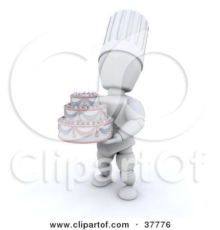 Clipart Illustration of a 3d White Character Baker Chef Holding A Beautiful Wedding Cake by KJ Pargeter