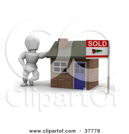 Clipart Illustration of a 3d White Character Home Owner Or Realtor, Leaning Against A Sold Brick Home by KJ Pargeter