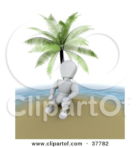 Clipart Illustration of a 3d White Character On Vacation, Relaxing Under A Palm Tree On A Deserted Island by KJ Pargeter