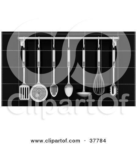 Clipart Illustration of a Chrome Kitchen Utensils Hanging From A Rack On A Black Tiled Wall by KJ Pargeter