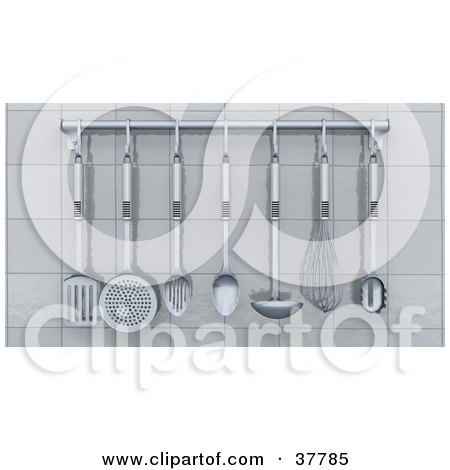 Clipart Illustration of a Chrome Kitchen Utensils Hanging From A Rack On A White Tiled Wall by KJ Pargeter