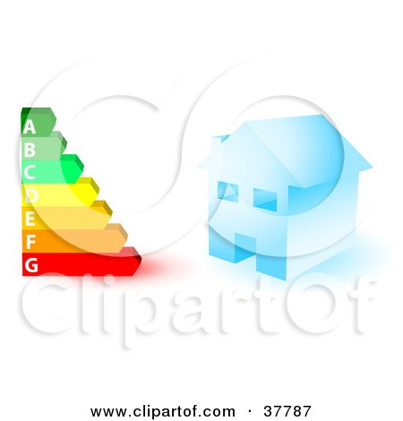 Clipart Illustration of a Blue House And A Colorful Energy Rating Graph by KJ Pargeter