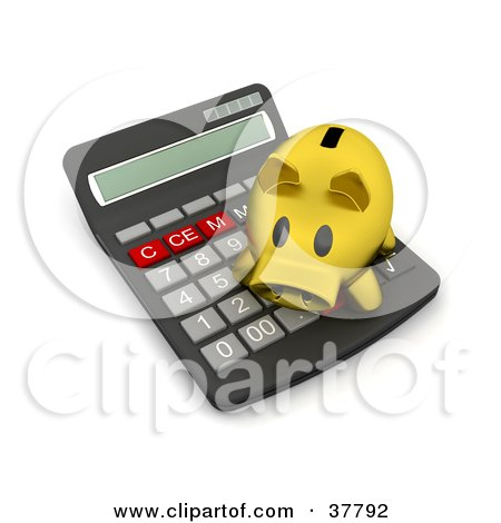 Clipart Illustration of a Golden Piggy Bank Atop A Calculator by KJ Pargeter