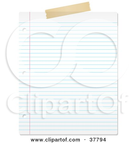Clipart Illustration of a Piece Of Tape On Top Of A Blank Lined Piece Of Paper by KJ Pargeter