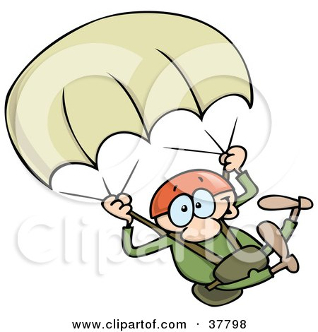 Clipart Illustration of a Daring Man In Green, Descending With A Parachute While Sky Diving by gnurf