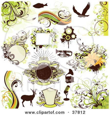 Clipart Illustration of a Silhouetted Fish, Eagle, Trumpet, Phonograph, Microphone And Deer With Green Floral Design Elements by OnFocusMedia