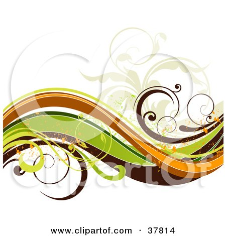 Clipart Illustration of a Wave Of Green, Brown, Orange And Beige Vines With Orange Grunge Splatters by OnFocusMedia
