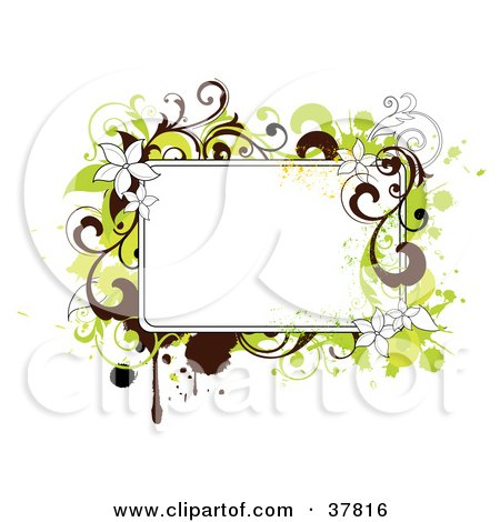 Clipart Illustration of a Blank Text Box With Green And Brown Grunge, Flowers And Splatters by OnFocusMedia