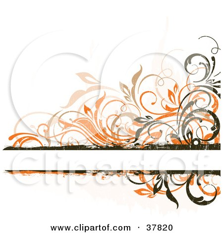 Clipart Illustration of a Blank Text Bar Bordered In Orange, Beige And Dark Brown Grunge Vines by OnFocusMedia