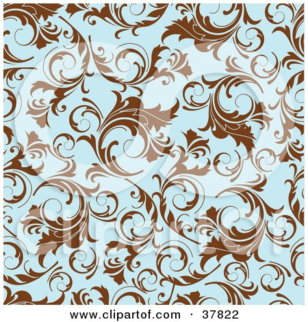 Clipart Illustration of a Brown And Blue Floral Patterned Background by OnFocusMedia