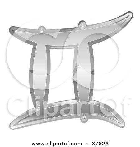 Clipart Illustration of a Shiny Silver Gemini Zodiac Astrology Symbol by AtStockIllustration