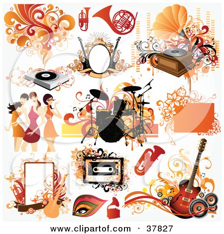 Clipart Illustration of Women And Music Design Elements by OnFocusMedia