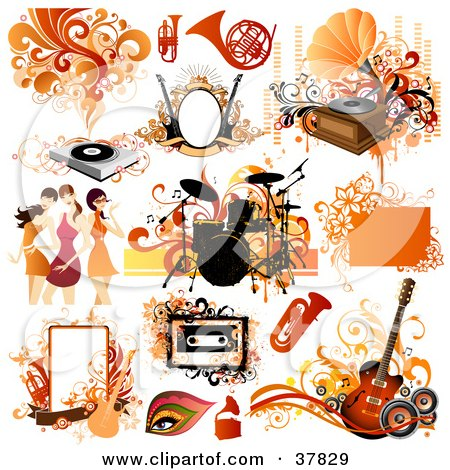 Clipart Illustration of Musical Instruments, Women And Design Elements by OnFocusMedia