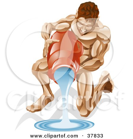 Clipart Illustration of Aquarius The Water Pourer Kneeling And Pouring Water From A Jug, With The Zodiac Symbol by AtStockIllustration