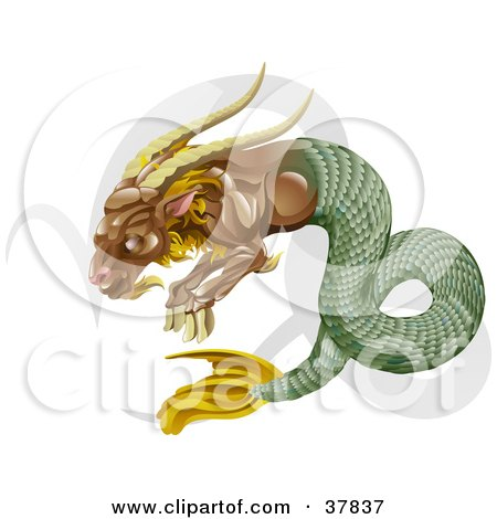 Clipart Illustration of Capricorn The Sea Goat With The Zodiac Symbol by AtStockIllustration