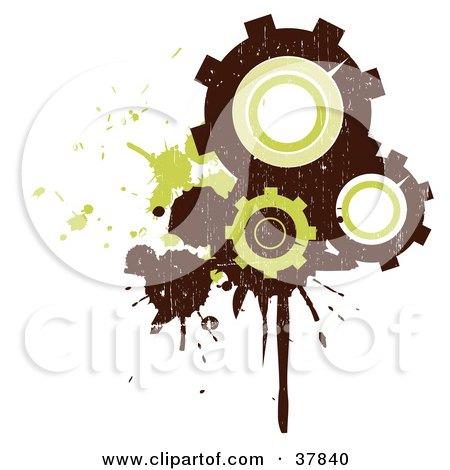 Clipart Illustration of Three Brown And Green Grungy Gear Cogs With Splatters And Drips by OnFocusMedia
