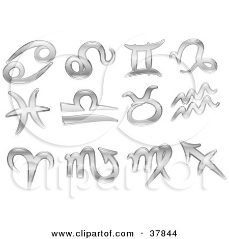 Clipart Illustration Of Twelve Shiny Silver Libra Gemini