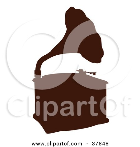 Clipart Illustration of a Brown Phonograph Silhouette by OnFocusMedia
