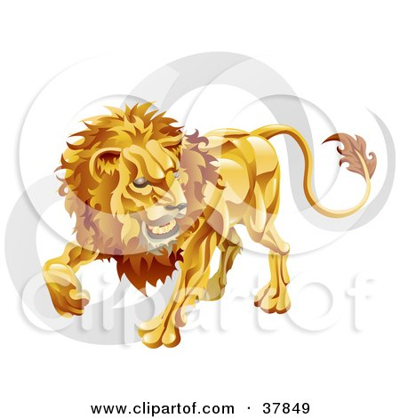 Clipart Illustration of Leo The Lion With The Zodiac Symbol by AtStockIllustration