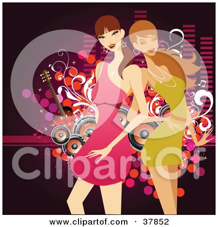Clipart Illustration of Two Pretty Ladies In Mini Dresses, Posing In Front Of A Music Background Of Dots, Guitars, Equalizer Bars And Speakers by OnFocusMedia