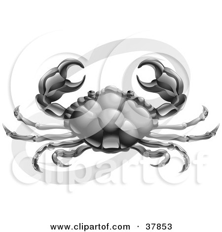 Clipart Illustration of Cancer The Crab Holding Up His Claws, With The Zodiac Symbol by AtStockIllustration