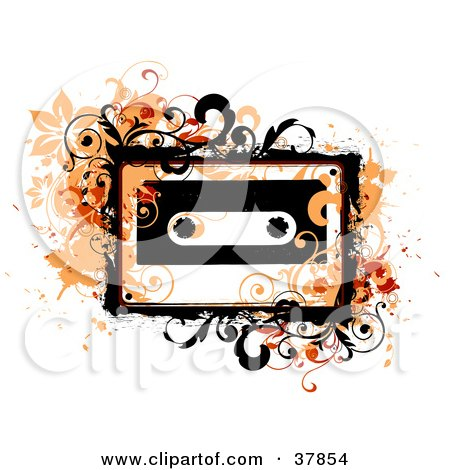 Clipart Illustration of Orange Grungy Vines And Splatters Around A Cassette Tape by OnFocusMedia