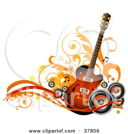 Clipart Illustration of a Guitar With Orange And Black Speakers, Waves, Vines And Splatters by OnFocusMedia